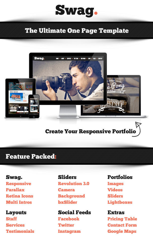 Swag - One Page Parallax Portfolio Template
